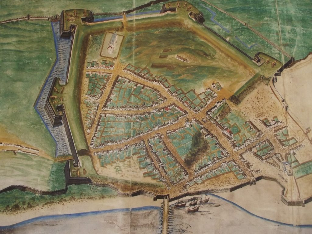 1580 Map of Berwick showing new ramparts