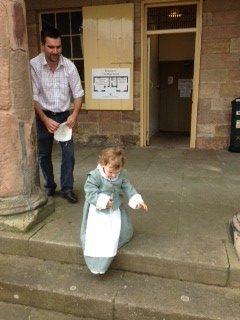 Little girl in Elizabethan dressing up clothes